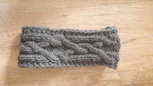 Stirnband Strick Knit Zopfstrick Grau
