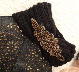 Stirnband Strick Strickmütze schwarz mit Glitzer Pailletten