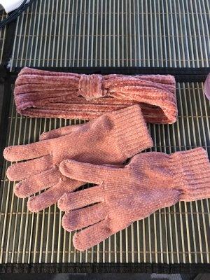 Stirnband und Handschuhe Damen Rosa