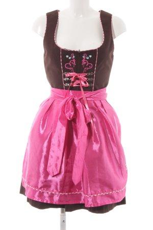 Stockerpoint Dirndl brun foncé-rose motif à carreaux style classique