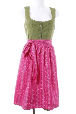 Stockerpoint Vestido Dirndl magenta-verde oliva estampado floral estilo clásico