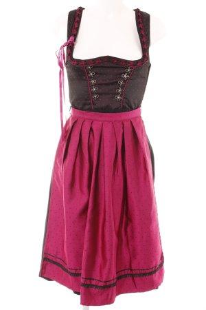 Stockerpoint Vestido Dirndl negro-rosa estampado a lunares estilo clásico