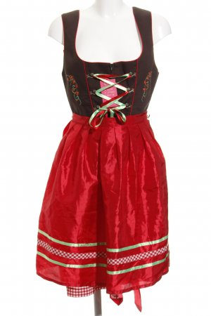 Stockerpoint Dirndl schwarzbraun-rot Mustermix Country-Look