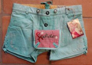 "Stockerpoint ""Lola""- Gr. 40- Trachten- Lederhose/ Hot pants- NP 119,- türkis"