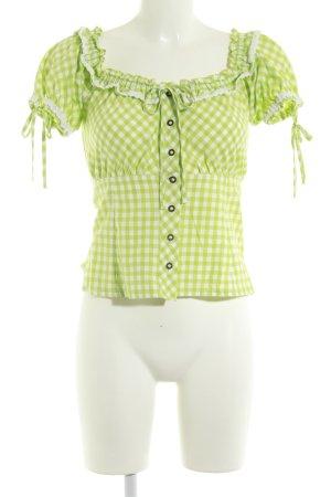 Stockerpoint Folkloristische blouse grasgroen-wit geruite print