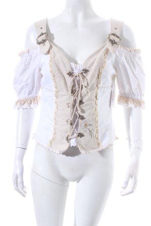 Stockerpoint Trachtenbluse weiß-beige klassischer Stil