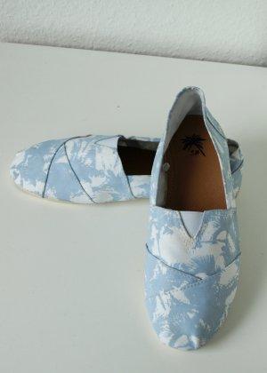 Stoff Espadrilles 38 mit Palmen Muster weiß blau türkis Sommerschuhe wie Toms von New Yorker