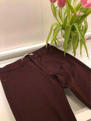 Stoff Jeans  dunkelrot