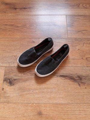 Stoff Loafer Schlüpfschuhe Slipper grau anthrazit Gr. 36