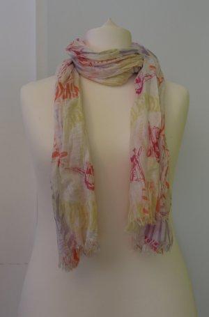 Stoff-Schal/ Tuch in weiß, Pink, gelb, lila mit Giraffen, perfekt für Frühling