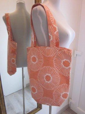 Stoffbeute Tasche Apricot Weiss verschließbar