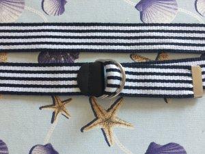 Cinturón de tela blanco-negro