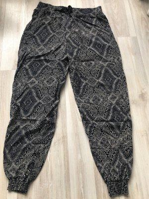 Pantalon large bleu foncé-beige clair