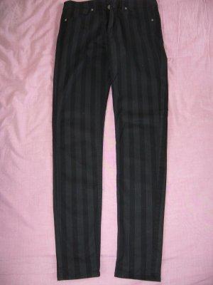Stoffhose Längsstreifen schwarz/grau H&M S 36