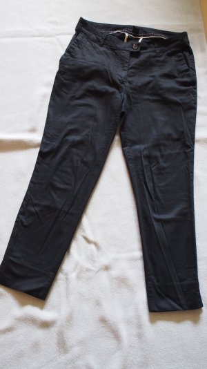 Stoffhose, schwarz, knöchellang