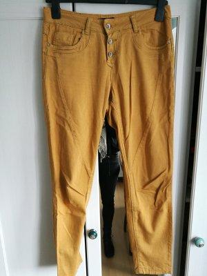 Pantalon chinos orange doré-brun sable coton