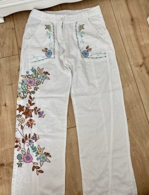 Cream Pantalon en lin multicolore coton