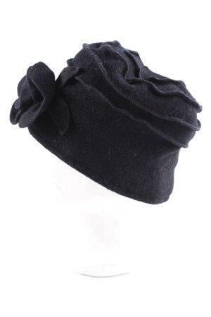 Sombrero de tela negro estampado floral look vintage