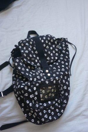 H&M School Backpack black-white