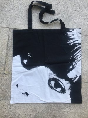 H&M Divided Canvas Bag black-white cotton