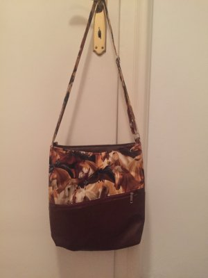 Stofftasche mit Schulterriemen , Pferde Motiv