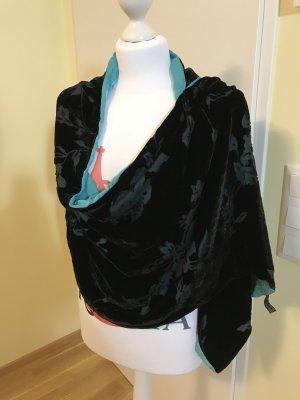 Zijden sjaal zwart-lichtblauw