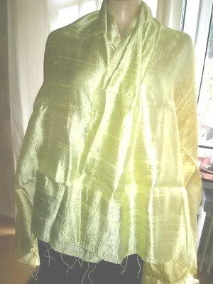 Stola- XXl Schal- Seide/rohseide-neu- gelber Farbverlauf-80 cm breit/1,80 m lang