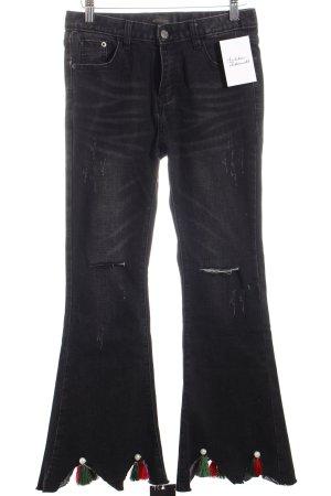 """Storets Boot Cut Jeans """"Elinor Pearl Tassels"""" schwarz"""