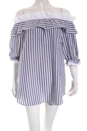 Storets Carmen-Bluse weiß-graublau Streifenmuster Romantik-Look
