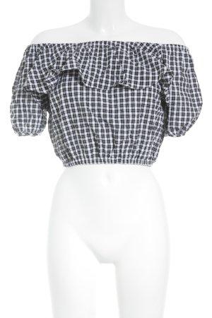 Storets Carmen-Bluse weiß-schwarz Karomuster Casual-Look
