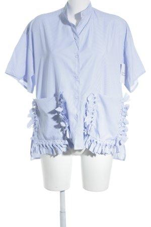 Storets Kurzarm-Bluse himmelblau-weiß Streifenmuster klassischer Stil