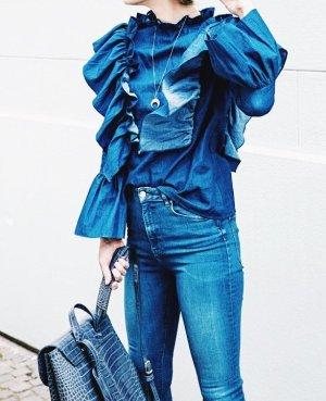 Storets Rüschen-Bluse blau Romantik-Look