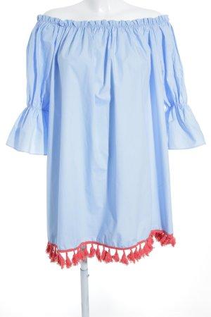 Storets schulterfreies Kleid babyblau-rot Hippie-Look