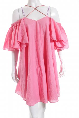 Storets schulterfreies Kleid pink Street-Fashion-Look