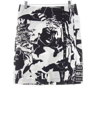 Stradivarius Bleistiftrock schwarz-weiß abstraktes Muster extravaganter Stil
