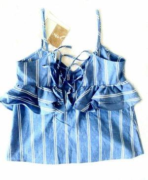 Stradivarius Bluse Top Volant Streifen Rüschen Schnürung Muster blau hellblau