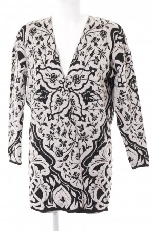 Stradivarius Cardigan schwarz-wollweiß florales Muster Romantik-Look