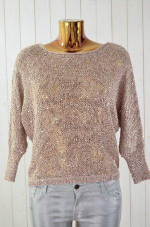 STRADIVARIUS Damen Pullover Beige Gold Grobstrick Pailletten 3/4-Arm Gr.M
