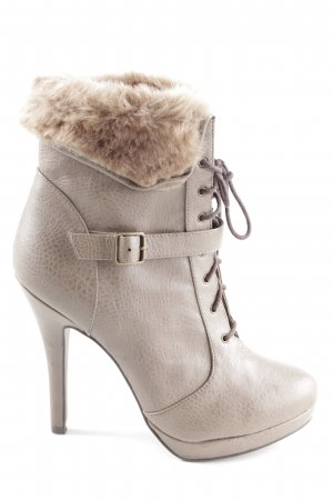 Stradivarius High Heel Boots natural white allover print casual look