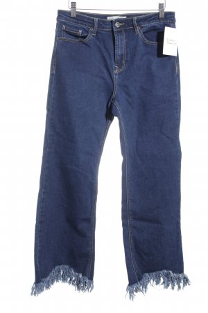 Stradivarius High Waist Jeans dunkelblau-wollweiß Urban-Look