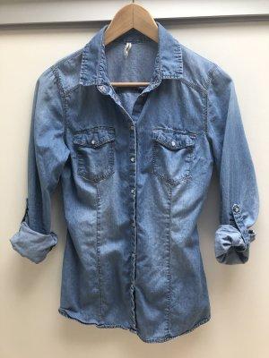 Stradivarius Jeans blouse staalblauw