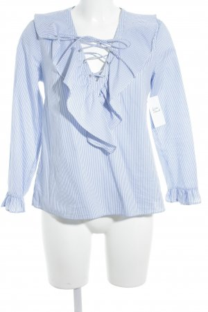 Stradivarius Langarm-Bluse kornblumenblau-wollweiß Streifenmuster