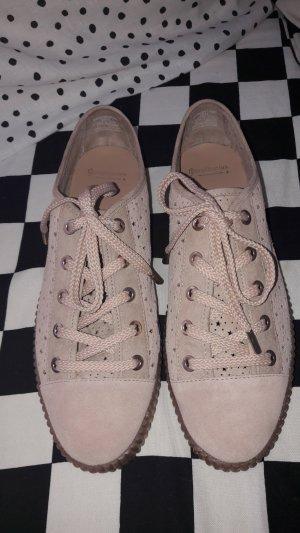 Stradivarius Lace Shoes nude-beige suede