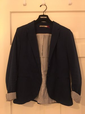 Stradivarius Denim Blazer blue-white cotton