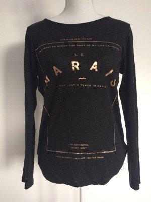 Stradivarius Oberteil Shirt langarm langärmlig grau Aufschrift gold roségold