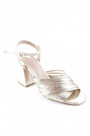 Stradivarius Strapped High-Heeled Sandals gold-colored party style