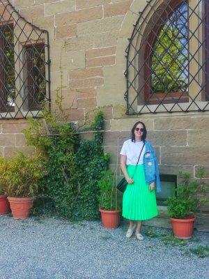 Stradivarius Plaid Skirt neon green