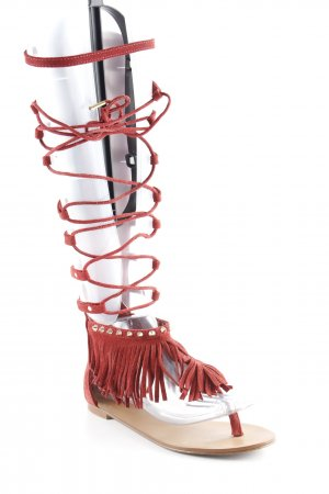 Stradivarius Romeinse sandalen donkerrood college stijl