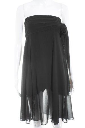 Stradivarius schulterfreies Kleid schwarz Glanz-Optik