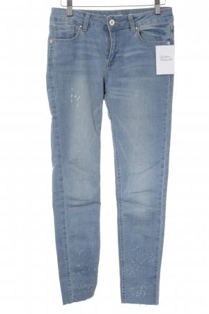 Stradivarius Skinny Jeans himmelblau Used-Optik
